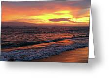 Sunset At Lahaina On Maui, Hawaii Greeting Card