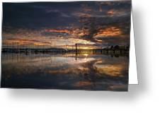 Sunset At Marina In Anacortes In Washington Greeting Card