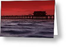 Sunset At Naples Pier Greeting Card by Melanie Viola