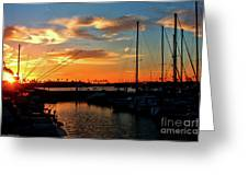 Sunset At Newport Beach Harbor Greeting Card