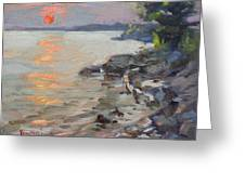 Sunset At Niagara River Greeting Card