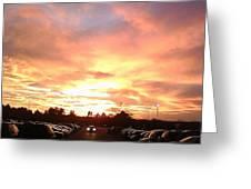 Sunset At Parking Lot Greeting Card