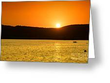 Sunset At Pichola Lake Greeting Card by Yew Kwang