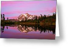Sunset At Picture Lake Greeting Card