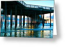 Sunset At Pismo Beach Pier Greeting Card