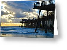 Sunset At Pismo Pier Greeting Card