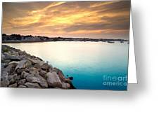 Sunset At Plymouth Harbor Greeting Card