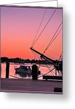 Sunset At Port Greeting Card