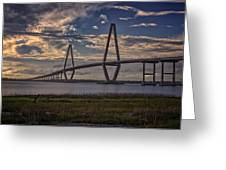 Sunset At Ravenel Bridge Greeting Card