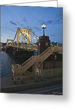 Sunset At Roberte Clemente Bridge Greeting Card by Dirk VandenBerg