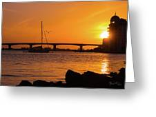 Sunset At Sarasota Bayfront Park Greeting Card