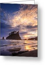 Sunset At Second Beach Greeting Card