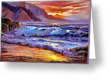 Sunset At Shipwreck Beach Greeting Card