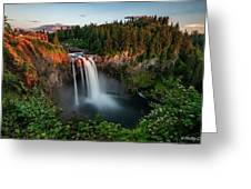 Sunset At Snoqualmie Falls Greeting Card