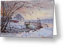 Sunset At Snow-covered Niawanda Park Greeting Card
