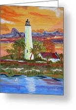 Sunset At St. Mark's Lighthouse Greeting Card