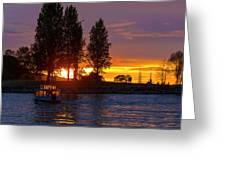 Sunset At Sunset Beach In Vancouver Bc Greeting Card