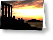 Sunset At Temple Of Poseidon Greeting Card