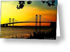 Sunset At The Delaware Memorial Bridge Greeting Card