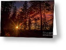 Sunset At The End Of The Hike Greeting Card