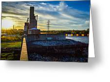 Sunset At The Flood Wall Greeting Card