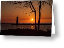 Sunset At The Lighthouse In Muskegon Michigan Greeting Card
