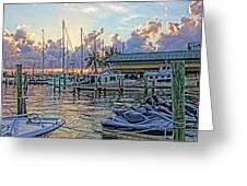 Sunset At The Marina Greeting Card