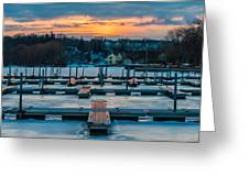 Sunset At The Marina In Winter Greeting Card