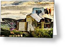 sunset at the marques de riscal Hotel - frank gehry - vintage version Greeting Card
