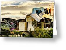sunset at the marques de riscal Hotel - frank gehry Greeting Card