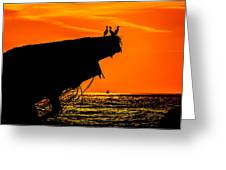 Sunset At The Ss Atlantus Concrete Ship Greeting Card