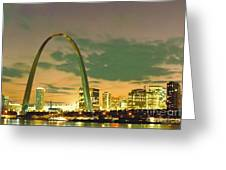 Sunset At The St. Louis Arch  Greeting Card