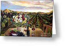 Sunset At The Vineyards Greeting Card