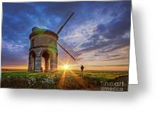 Sunset At The Windmill Greeting Card