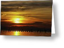 Sunset At Thessaloniki Greeting Card