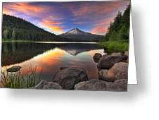 Sunset At Trillium Lake With Mount Hood Greeting Card