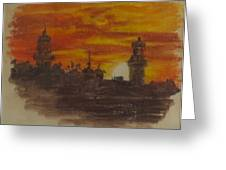 Sunset At Twin Lights Greeting Card