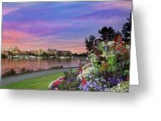 Sunset At Victoria Bc  Inner Harbour Greeting Card