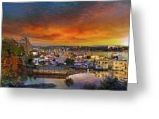 Sunset At Victoria Inner Harbor Fisherman's Wharf Greeting Card