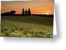 Sunset At Vitaleta Greeting Card