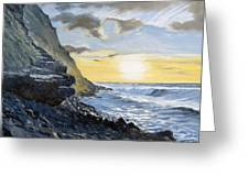 Sunset At Warren Point Duckpool Greeting Card