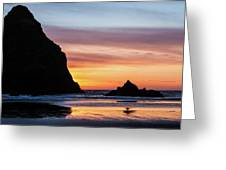 Sunset At Whalehead Beach Greeting Card