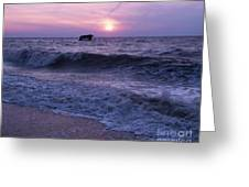 Sunset Beach Nj And Ship Greeting Card