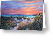 Sunset Beach Painting With Walking Path And Sand Dunesand Blue Waves Greeting Card