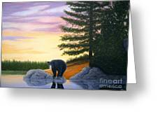 Sunset Bear Greeting Card by Tracey Goodwin
