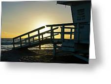 Sunset Behind A Lifeguard Station On Venice Beach Ca Greeting Card