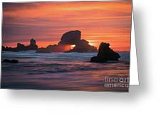 Sunset Behind Arch At Oregon Coast Usa Greeting Card