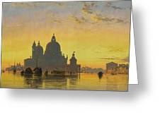 Sunset Behind The Church Of Santa Maria Della Salute Greeting Card