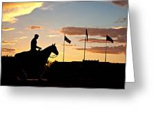 Sunset Behind Will Rogers And Soapsuds Statue At Texas Tech University In Lubbock Greeting Card by Ilker Goksen