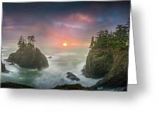 Sunset Between Sea Stacks With Trees Of Oregon Coast Greeting Card